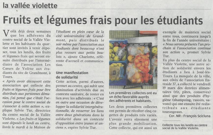 Fruits et légumes frais pour les étudiants